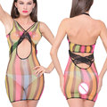 New Sexy Women Colorful Erotic lingerie See Through Club Wear Transparent Sleepwear Bodysuits Hollow Club Dress FX1015