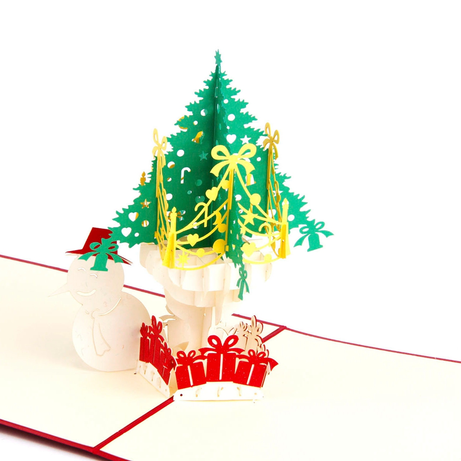 Christmas Tree And Snowman 3d Laser Cut Pop Up Paper Holiday