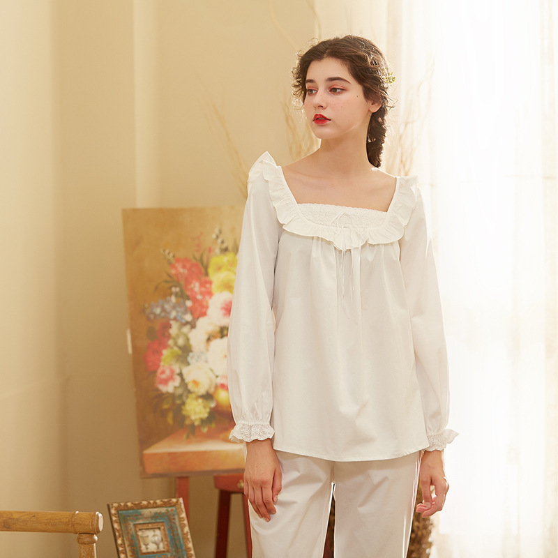 2018 Two-piece Night Wear Pajama Set Home Suit White Cotton Pijama Women Autumn Sleep Lounge Elegant Home Clothes