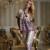 XIFENNI Marca Mulheres Moda Impresso Pijama Imitação de Cetim de Seda do Pijama Conjuntos De Pijama De Seda Sexy Com Decote Em V Sleepwear Pijama 33660