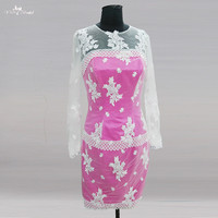 RSE772 Long Sleeve Pink Short Groom Mother Of The Bride Lace Dresses