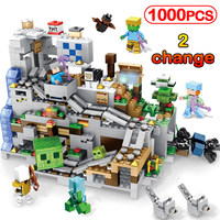 1000pcs My World Lift Mechanism Cave Building Blocks Compatible Legoinglys Minecrafted Aminal Alex Figures Brick Kids Toy Gifts