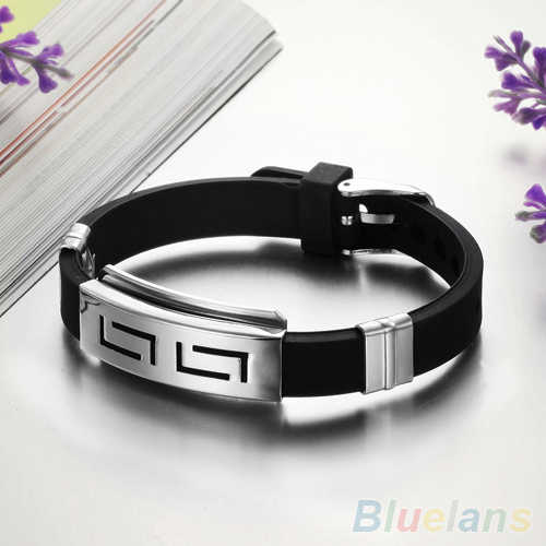 Men's Black Punk Rubber Stainless Steel Wristband Clasp Cuff Bangle Bracelet 1SME