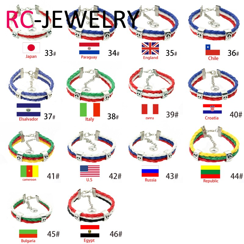 2017 fashion World Cup flag creative couple leather braided bracelet pulseira de couro wholesale gift simple style