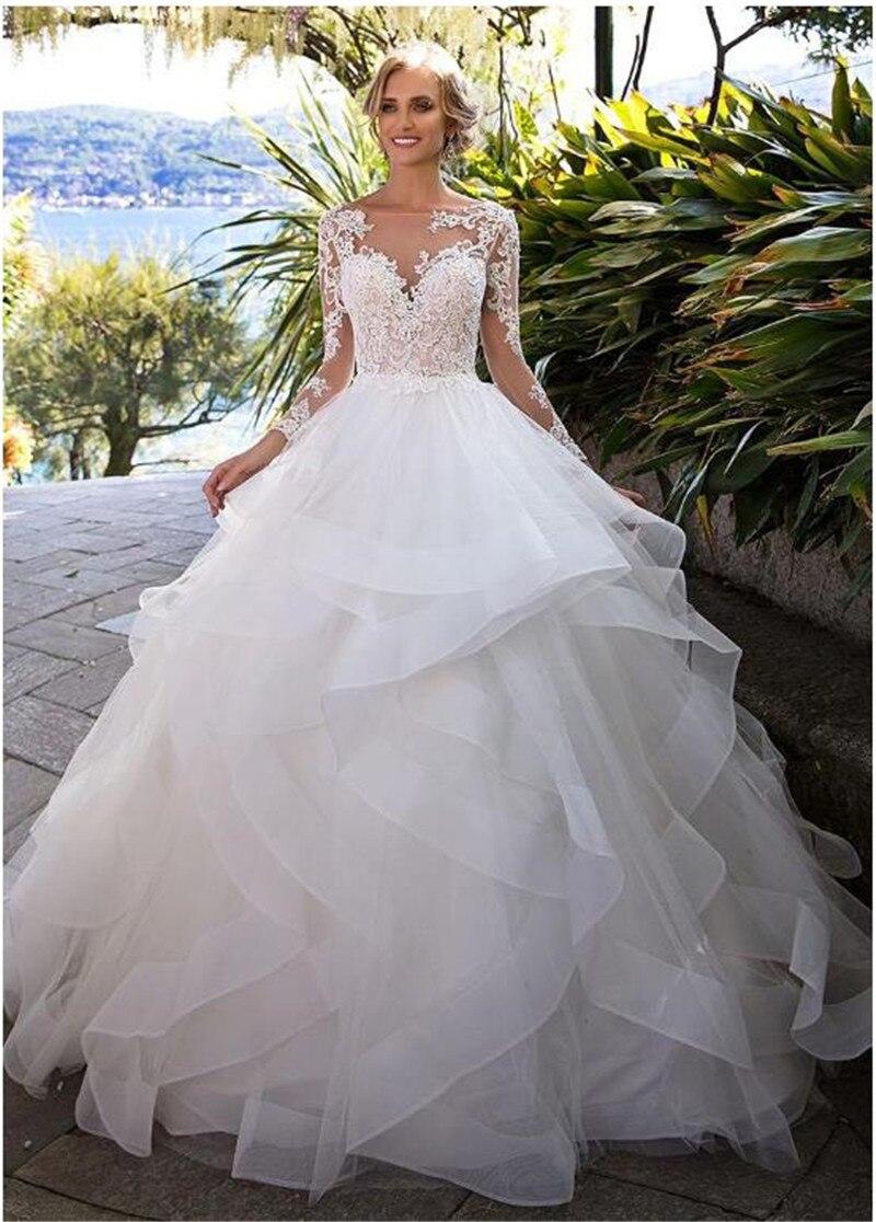 Muslim Wedding Dress Ball Gown Tulle Lace Ruffles Long Sleeves Illusion Vestido De Noiva Dubai Arabic Wedding Gown Bridal Dress