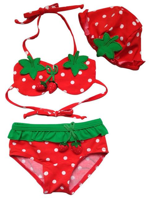 3 unids ropa de bebé niña niños niños bebe niños hat + bra + shorts de baño de la fresa bikini traje de baño ropa de playa set