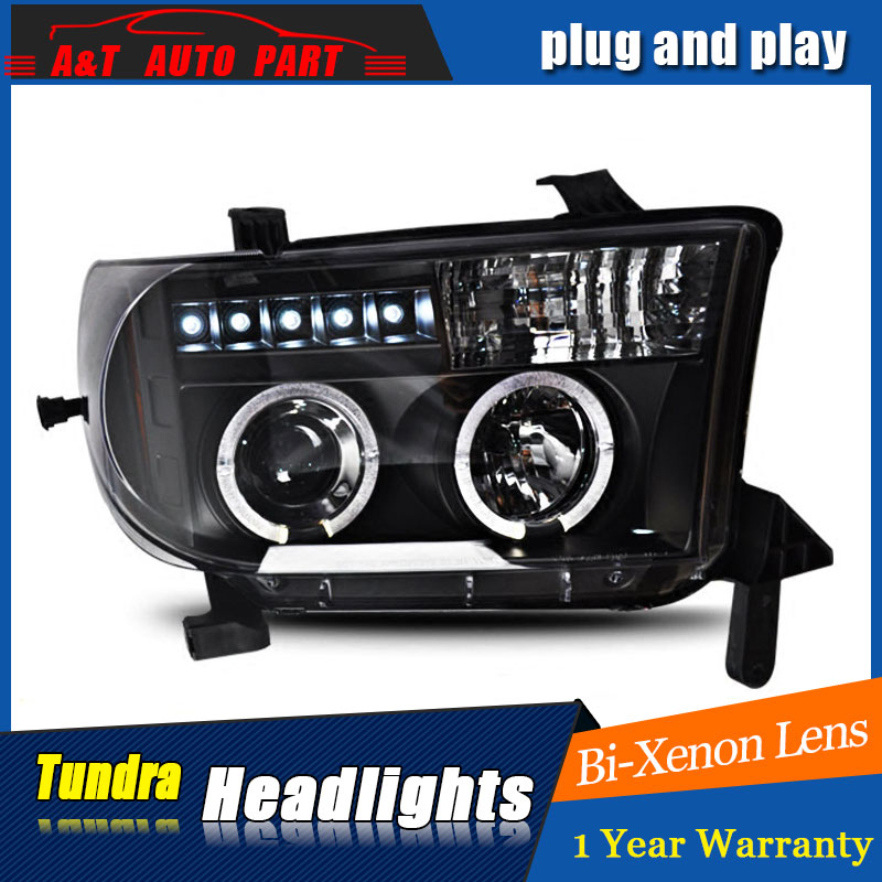 Auto part Style LED Head Lamp for Toyota Tundra led headlights 07-13 for Tundra drl H7 hid Bi-Xenon Lens angel eye low beam for volkswagen polo mk5 vento cross polo led head lamp headlights 2010 2014 year r8 style sn