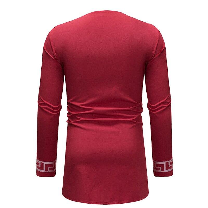 African style man dashiki long-sleeved T-shirt printing men's clothing V-neck design (1)