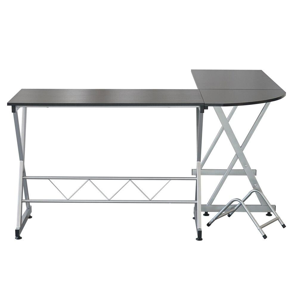L образный деревянный компьютерный стол угловой стол ноутбук PC стол рабочая станция угловой письменный стол с полками для хранения черный С... - 5