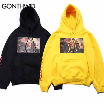 GONTHWID Painting Printed Hoodies Men\'s 2020 Autumn Winter Fleece Sweatshirts Hip Hop Casual Cotton Pullover Skateboard Hoodie