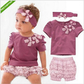 china clothing factories catering girl summer clothing set purple girls kerst baby kleding tops+short+headband purple 3pcs