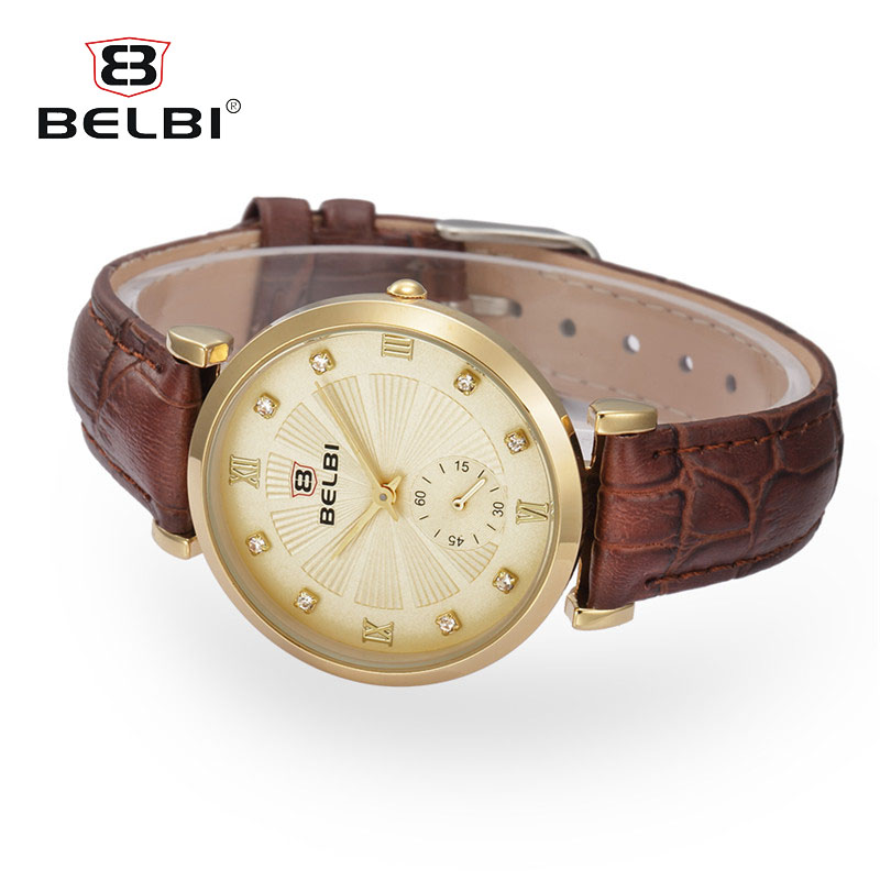 BELBI Relogio Feminino Women Watches Watch Deluxe Business Gift Leather Analog Quartz Ladies Wrist Watches newly design watch women girl diamond analog leather band quartz wrist watches watches clock relogio feminino best gift
