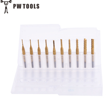10pcs/set PCB Drill Bits CNC End Mill Tool Set Woodworking Engraving Cutter For Power Tools 0.8-3.175mm