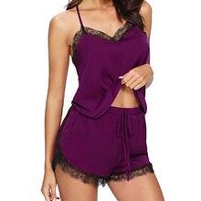Пикантная кружевная Пижама одежда для сна женщин летняя на бретелях