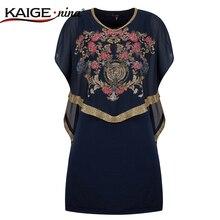 KAIGE. nina Nuevo Estilo Del Verano Vendimia de Las Mujeres Vestido de Diamantes Decoración Floral Imprimir Flojo Ocasional Vestidos de Gasa de 815 #-1