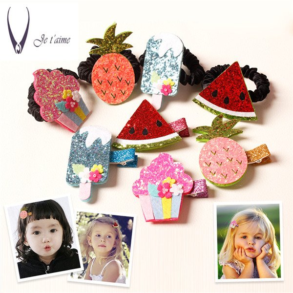 watermelon Princess Shiny Hair Clips Girls Hair Accessories Cartoon Rim Elastic Hair Band Hair Tie Kid Rubber Head Band -C ...