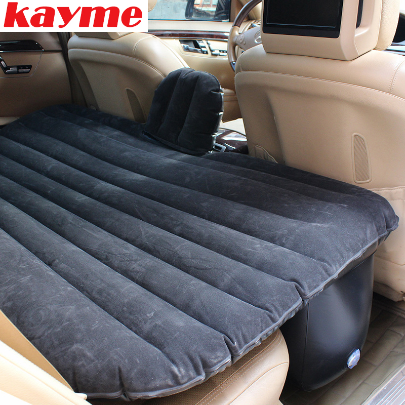 Kayme Car Inflatable Air Mattress Camping Swimming Unversal Travel Rear Seat Bed Auto Sleep Airbed Car Covers Kamp Black Beige durable thicken pvc car travel inflatable bed automotive air mattress camping mat with air pump
