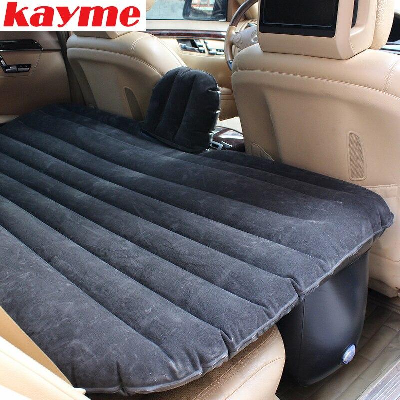 Matelas gonflable d'air de voiture Kayme Camping natation universel voyage siège arrière lit Auto sommeil Airbed bâches de voiture Kamp noir Beige