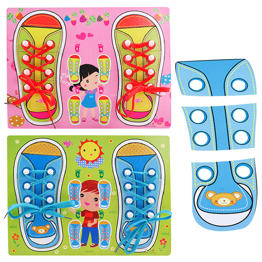 Baby Kids Clever Puzzle Jigsaw Borad Wooden Lacing Shoes Toddler
