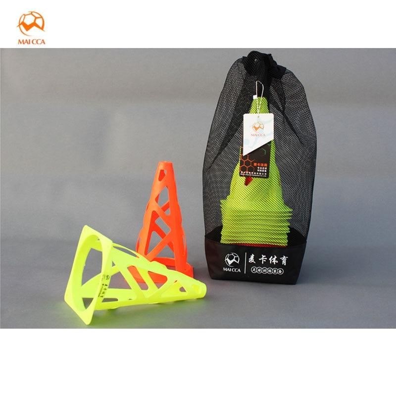 23cm Conos de fútbol Bloques de marcadores espaciales Conos huecos para entrenamiento de fútbol Equipo de agilidad Placa Barrera deportiva con bolsa