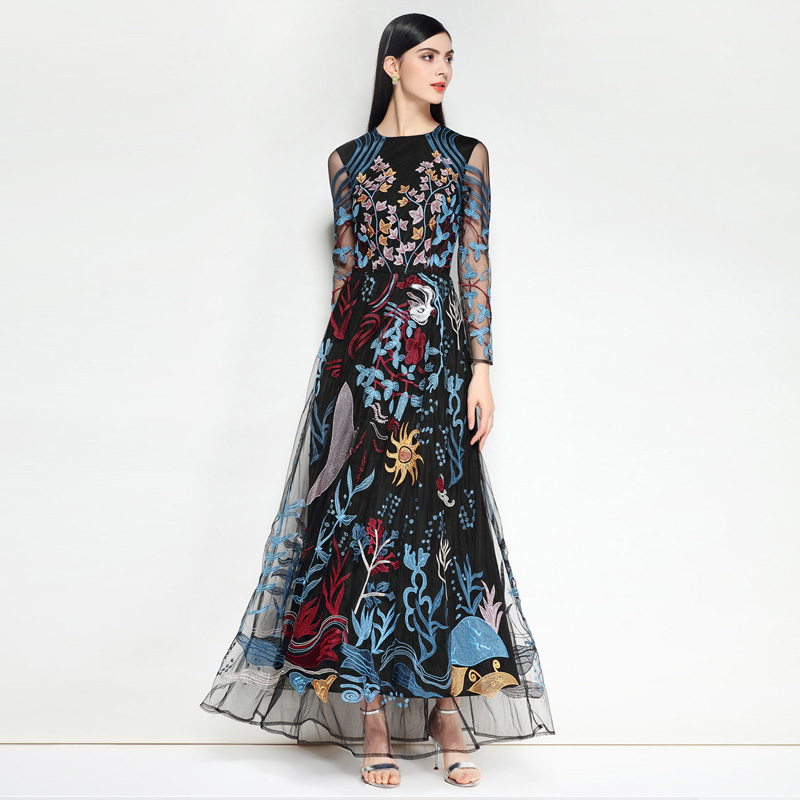 d75ba527b6ea3 2018 Fashion Runway Party Maxi Dress High Quality Women s Long Sleeve  Vintage Mesh Luxury Floral Embroidery Long Dress Free DHL-in Dresses from  Women s ...