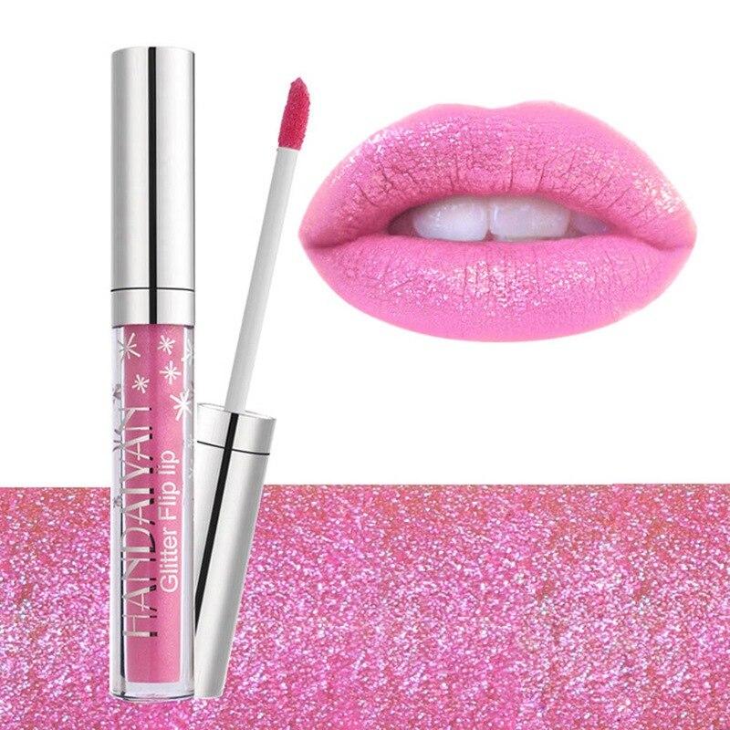 Non-stick Cup Lip Gloss 7 Colors Diamond Shine Lipstick Long Lasting Liquid Glitter Flip Lip Lip Gloss