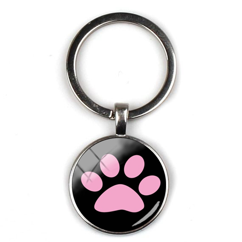 Fashion Cute Animal Paw Print Keychain Cat Dog I Love Pet Text Glass Pendant Keyring Men Girl Accessories Favorite Gift Souvenir