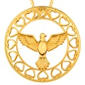 Love Women's Fashion Gold Plated Jewelry Pigeon Peace Pendant Short Necklace Cute Gift Boys & Girls Lady P30187