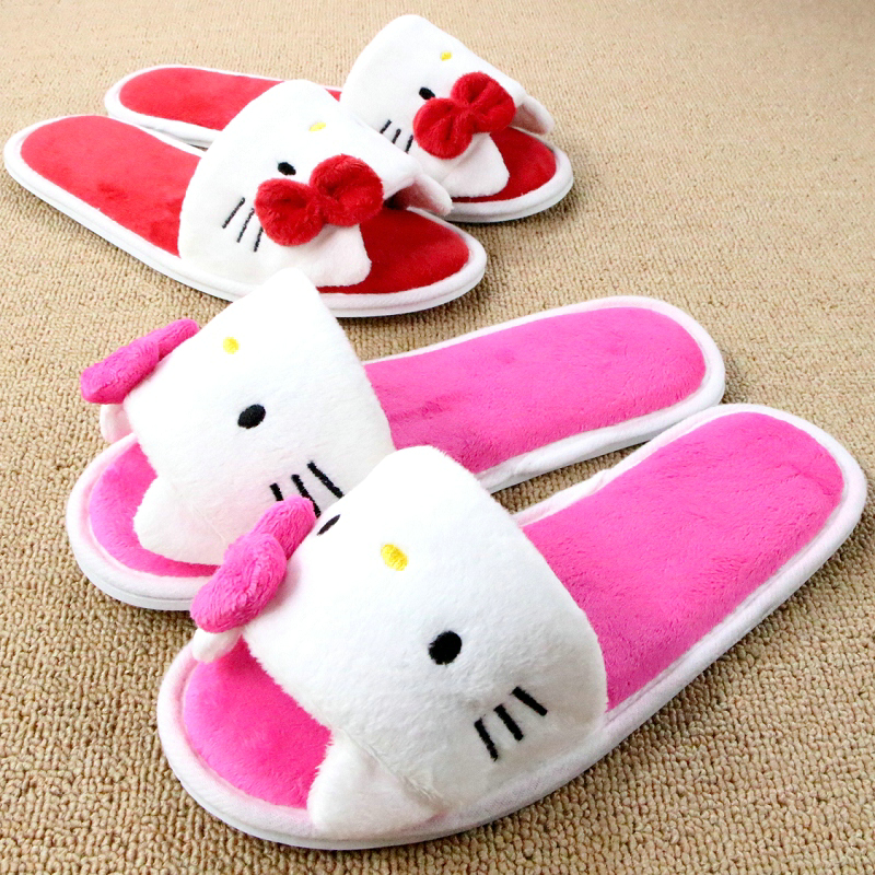 Girls Loafers Cartoon Pantuflas Plush Winter Chinelo Bow Kitty Pink Slippers For Women Mujer Shoes Indoor Soft Pantofole Donna cute squinting sheep coral cartoon animal animation sewing winter pantuflas pantofole donna pink slippers women mujer shoes men