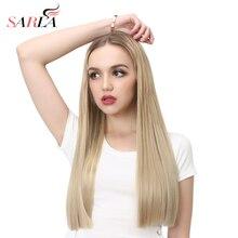 SARLA 24'' 60cm Long Straight Blonde U Part Half Wig Synthet