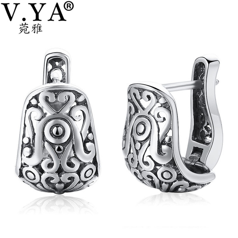 V.YA Vintage Style Hollow Hoop earrings Real Pure 925 Sterling Silver Floral Earrings Women Jewelry For Party Wedding