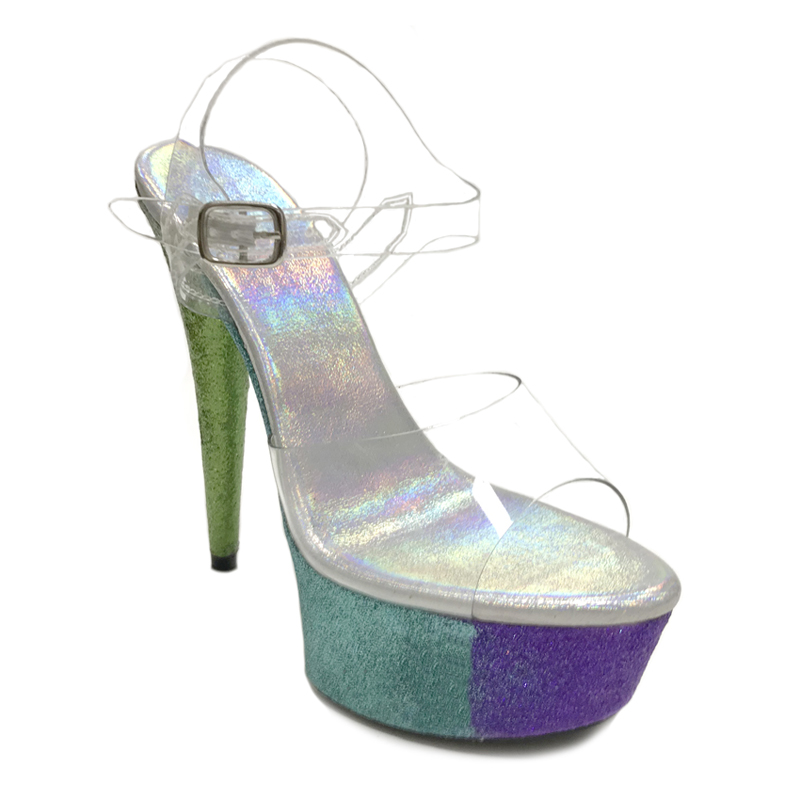 Leecabe Colorful Glitter 15cm 17cm 20cm fancy pole dance sandals lady shoe  high heel 4a669d779a1d