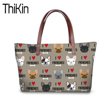 THIKIN Cute Women French Bulldog Printing Handbags for Teenager Girls Large Bookbag Ladies Fashion Shoulder Hand Tote Bags Bolsa