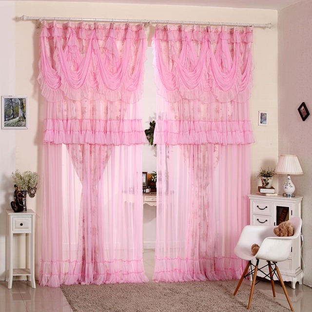 Korean Style Pink Lace Ruffled Window Valance Roses Flower Shade ...