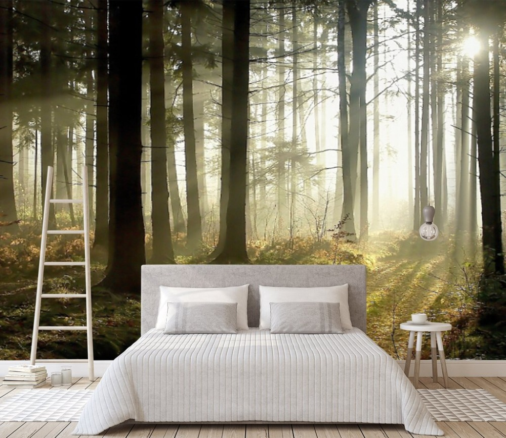[Self-Adhesive] 3D Sun Fog Land Forest 13 Wall Paper Mural Wall Print Decal Wall Murals