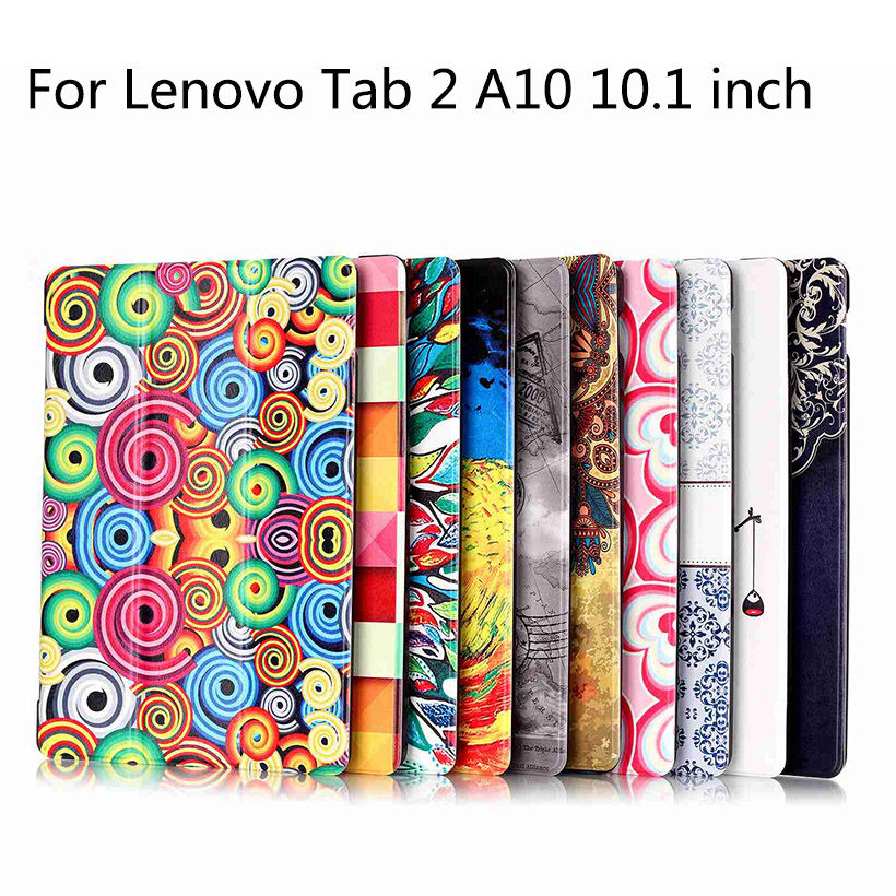 Tab 2 A10 30 Colorful Print Leather Case Cover for Lenovo Tab 2 A10-70 a10-30 X30F X30L Tablet 10.1 inch Magnet Smart folio Case for lenovo tab 2 a10 30 x30 case magnet stand pu leather case protective skin shell case cover for tab 2 a10 x30f x30l case