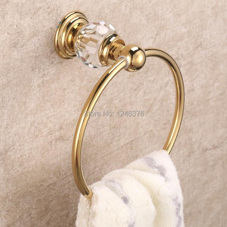 ФОТО Free shipping high quality popular style Luxury Crystal + Brass Gold Towel Ring, Towel Bar,Towel Holder Bathroom Accessories