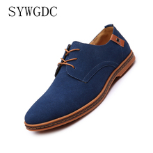 SYWGDC 2019 New Men's Cow Suede Leather Casual Shoes Men shoes Lace-Up Solid Man Oxfords Shoes Flats zapatillas hombre size38-48 new leather shoes men casual high quality black dress shoes autumn winter fashion shoes for men zapatillas hombre plus size38 48