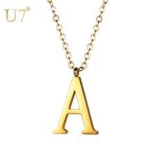 Ожерелье из нержавеющей стали u7 с подвеской в виде букв Подвеска