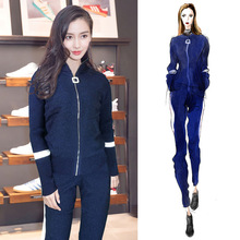 Autumn Women 2019 New European Goods Tide Air Small Sport Suit Knitted Two-piece Set Pants suit women set sexy fashion