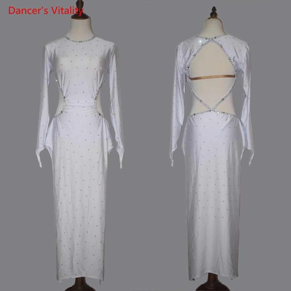 Professional Women Latin Dance Costume Senior Diamonds Latin Dance Dress Sexy Backless Dress For Female Performance Clothes