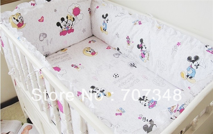 Mickey Mouse Minnie Infant Bedding Baby Crib Bedclothes Sheets Safetu Free Shipping