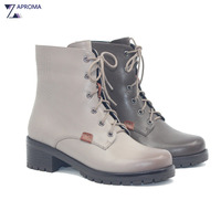 Lace Up Med Heel Winter Spring Martin Boots Women Grey Square Heel Fleeces Shoes 2018 Cross