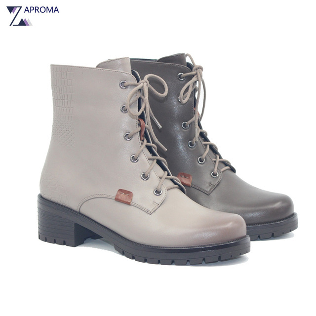 914a4b04d6fe4 Lace Up Med Heel Winter Spring Martin Boots Women Grey Square Heel Fleeces  Shoes 2018 Cross Tied Ankle High Quality Combat Boot