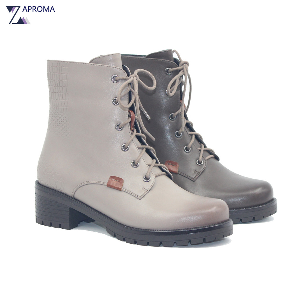 Lace Up Med Heel Winter Spring Martin Boots Women Grey Square Heel Fleeces Shoes 2018 Cross Tied Ankle High Quality Combat Boot ...
