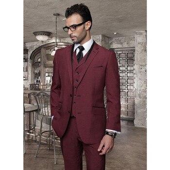 2017 Bespoke Men Suits For Wedding Prom Party Burgundy (Jacket+Pants+Vest) Slim Fit Men Suit Set Groomsman Best Man Groom Tuxedo