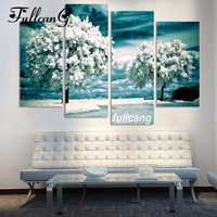 FULLCANG Full Square Diamond Embroidery Snow Tree Diy 4PCS Diamond Painting Cross Stitch 5D Mosaic Home