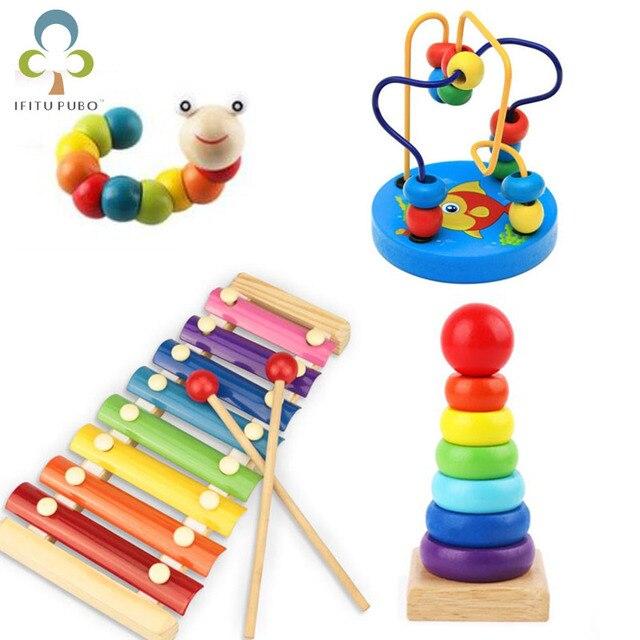 Montessori juguetes de madera juguete de aprendizaje infantil niños bebé colorido bloques de madera iluminación juguete educativo LYQ