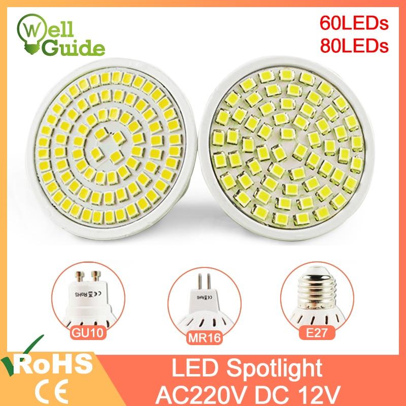 LED Spotlight E27 Gu10 Mr16 AC/DC 12V AC 220V 240V LED Lamp 60/80LEDs 3W 4W Grow Light Lampada Spot LED Bulb Full Spectrum