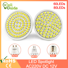 цена на LED Spotlight E27 Gu10 Mr16 AC/DC 12V AC 220V 240V LED Lamp 60/80LEDs 3W 4W Grow Light Lampada Spot LED Bulb Full Spectrum